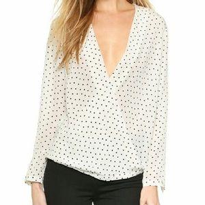 Club Monaco Silk Blouse with Polka Dots